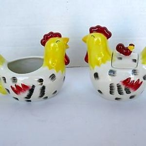 3 PIECE SET ~ COUNTRY ROOSTERS CREAMER / SUGAR NIB